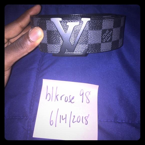 Louis Vuitton Accessories - Louis Vuitton Black Damier Graphite Initiales Belt